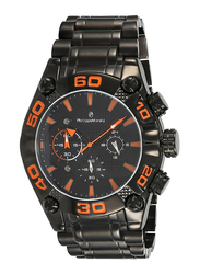 Philippe Moraly of Switzerland Analog Watch for Men with Stainless Steel Band. Water Resistant and Chronograph. MC1333BBA. Black-Orange