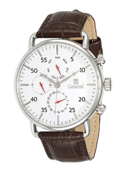 Geneval of Switzerland Analog Watch for Men with Leather Band. Water Resistant and Chronograph. GL1515WWO. Brown-White