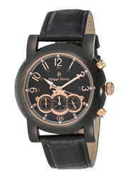 Philippe Moraly of Switzerland Analog Watch for Men with Leather Band. Water Resistant and Chronograph. LC1111BRBB. Black