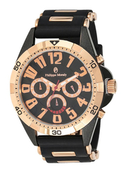 Philippe Moraly of Switzerland Analog Watch for Men with Rubber Band. Water Resistant with Chronograph. RC1455BRBB. Black-Rose Gold
