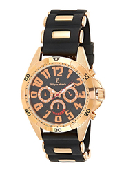 Philippe Moraly of Switzerland Analog Watch for Men with Rubber Band. Water Resistant with Chronograph. RC1455RBB. Black-Gold