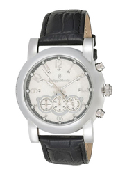 Philippe Moraly of Switzerland Analog Watch for Men with Leather Band. Water Resistant and Chronograph. LC1111WWB. Black-Silver/White