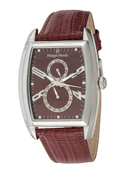 Philippe Moraly of Switzerland Analog Watch for Men with Leather Band. Water Resistant and Chronograph. L1421WOO. Brown