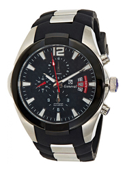 Geneval of Switzerland Analog Watch for Men with Rubber Band. Water Resistant and Chronograph. GRC141WBB. Black