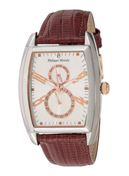 Philippe Moraly of Switzerland Analog Watch for Men with Leather Band. Water Resistant and Chronograph. L1421CRWO. Brown-Rose Gold
