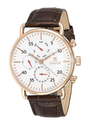 Geneval of Switzerland Analog Watch for Men with Leather Band. Water Resistant and Chronograph. GL1515RWO. Brown-White/Gold