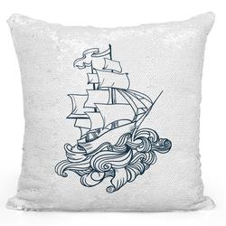 Loud Universe Sequin Pillow Magic Mermaid Throw Pillow Nautical Pirate Ship Pillow Old Age War Ship - Durable 16 x 16 inch Square Home Accent Pillow Sofa Cushion, White
