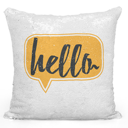 Loud Universe Sequin Pillow Magic Mermaid Throw Pillow Hello Yellow Pillow - Pure Printed 16 x 16 inch Square Home Decor Couch Pillow, White