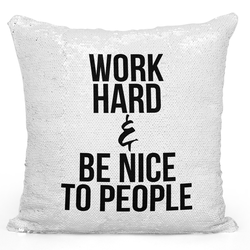 Loud Universe Sequin Pillow Magic Mermaid Throw Pillow Work Hard Pillow Be Nice To People - Durable 16 x 16 inch Square Home Accent Pillow Sofa Cushion, White