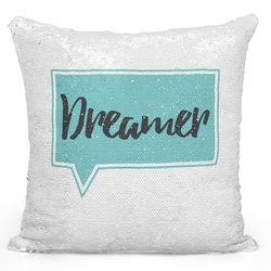 Loud Universe Sequin Pillow Magic Mermaid Throw Pillow Dreamers Pillow - Pure Printed 16 x 16 inch Square Home Decor Couch Pillow, White