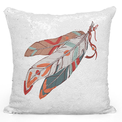 Loud Universe Sequin Pillow Magic Mermaid Throw Pillow Native Indian Style Tribal Feather Print - Pure Printed 16 x 16 inch Square Home Decor Couch Pillow, White