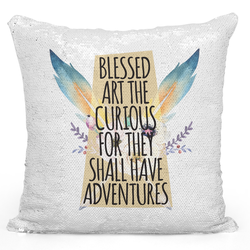 Loud Universe Sequin Pillow Magic Mermaid Throw Pillow Blessed Are The Curious Tribal Feather Teepee Theme Pillow - Durable 16 x 16 inch Square Home Accent Pillow Sofa Cushion, White