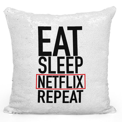 Loud Universe Sequin Pillow Magic Mermaid Throw Pillow Eat Sleep Repeat - Durable 16 x 16 inch Square Home Accent Pillow Sofa Cushion, White