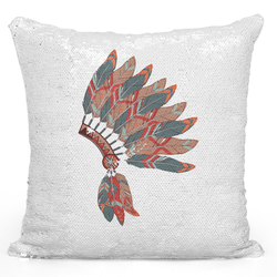 Loud Universe Sequin Pillow Magic Mermaid Throw Pillow Native Tribal Hat Headdress Fether Print - Pure Printed 16 x 16 inch Square Home Decor Couch Pillow, White