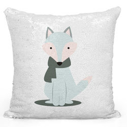 Loud Universe Sequin Pillow Magic Mermaid Throw Pillow Cozy Winter Wolf Cartoon Pillow - Colorful With 16 x 16 inch Square Home Accent Pillow Sofa Cushion, White