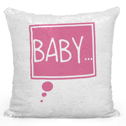 Loud Universe Sequin Pillow Magic Mermaid Throw Pillow Baby Pink Printed Pillow - Pure Printed 16 x 16 inch Square Home Decor Couch Pillow, White