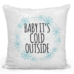 Loud Universe Sequin Pillow Magic Mermaid Throw Pillow Baby Its Cold Outside Cozy Winter Holidays Pillow - Durable 16 x 16 inch Square Home Accent Pillow Sofa Cushion, White