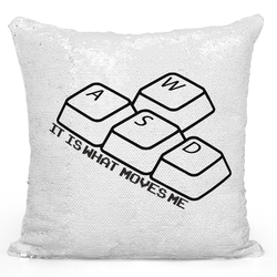 Loud Universe Sequin Pillow Magic Mermaid Throw Pillow Wasd Keyboard Keys It Is What Moves Me Funny Computer Nerds Pillow - Pure Printed 16 x 16 inch Square Home Decor Couch Pillow, White