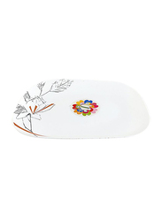 RoyalFord 12-inch Opal Ware Leafless Design Square Dessert Serveware Plate, RF8885, White