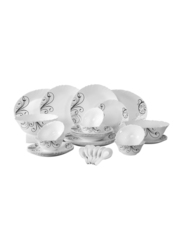 RoyalFord 34-Pieces Traditional Printed Opal Ware Dinnerware Set, RF8985, White