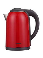 Geepas 1.7L Electric Stainless Steel Double Layer Kettle, 1800W, GK38013, Red