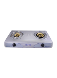 Geepas Stainless Steel Double Gas Burner, Auto Ignition System, GK73, Silver