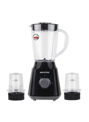 Krypton 3 in 1 Blender Portable Unbreakable Blender Jar with Grinder Cups, 300W, KNB6136, Black/White