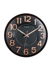 Olsenmark OMWC1781 Square Analog Indoor Wall Clock, Brown/Black