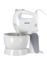 Krypton 5-Speed Electric Hand & Stand Mixer with Rotating Bowl, 250W, KNSM6242, White