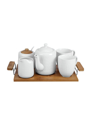 RoyalFord 6-Pieces Porcelain Tea Set with Wooden Stand, RF9239, White