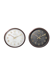Geepas GWC4811 2-Pieces Taiwan Movement Wall Clock Set, Black/Brown/White