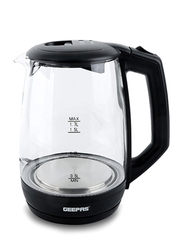 Geepas 1.7L Electric Transparent Water Level Glass Kettle, 2200W, GK9901, Black/Clear