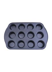 RoyalFord 12 Cup Aluminium Rectangle Muffin Pan, RF7042, 41.3x26.5x3cm, Black
