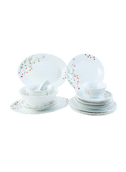 RoyalFord 34-Pieces Flower Printed Opal Ware Dinnerware Set, RF8984, White