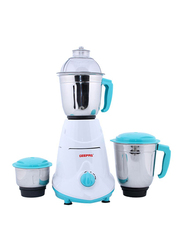 Geepas Mixer Grinder, 550W, with 3 Stainless Jars, GSB5080, White/Blue