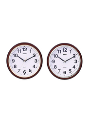Geepas GWC4817 2-Pieces Taiwan Movement Wall Clock Set, Brown/Gold/Silver/White