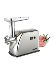 Geepas Stainless Steel Meat Grinder, 1600W, with Reverse and 1 Kg Mini Cap, GMG1909, Silver