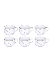 RoyalFord 6-Pieces Porcelain Golden Line New Bone China Cups Set, RF7226, White