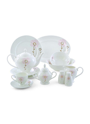 RoyalFord 47-Pieces Opal Ware Ovation Finebone Round Dinnerware Sets, RF8396, White