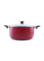 RoyalFord 30cm Non Stick Aluminium Casserole with Glass Lid, RF6443, Red