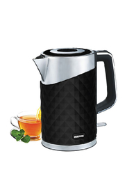 Geepas 1.7L Electric Stainless Steel Double Layer Kettle, 2200W, GK6141, Black