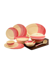 RoyalFord Ribble Designed 64-Pieces Melamine Ware Dinnerware Set, RF8102, Red/Beige
