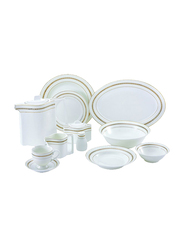 RoyalFord 47-Pieces Porcelain Ovation Finebone Round Dinnerware Set, RF8398, White