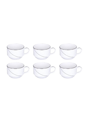 RoyalFord 6-Pieces Porcelain Silver Line New Bone China Cups Set, RF7227, White