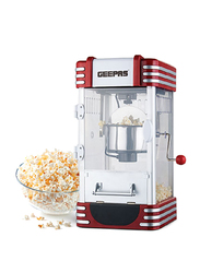 Geepas Stainless Steel Bowl Popcorn Maker, 310W, GPM839, Red/Clear