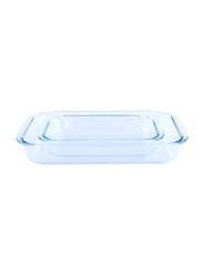 RoyalFord 2-Pieces Glass Oblong Baking Dish Set, RF2709-GBD, Clear