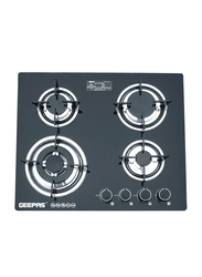 Geepas Stainless Steel 4 Gas Burner, with 2-in-1 Built-in-Gas Hob, GK4410, Black