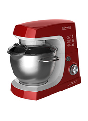 Geepas 1.4L Deluxe Kitchen Stand Mixer, 600W, with 4.2L Stainless Steel Bowl, GSM5442, White/Red
