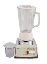 Geepas 2-in-1 Electric Glass Jar Blender, 450W, GSB1603, White