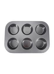 RoyalFord 6 Cup Aluminium Rectangle Jumbo Muffin Pan, RF7043, 34x22x4.5cm, Black